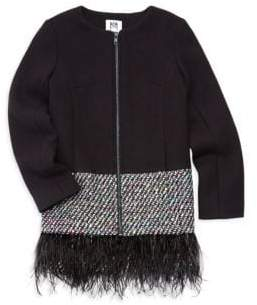 Milly Minis Girls Doubleface Feather Trim Jacket