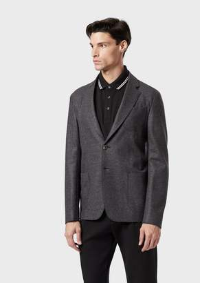 Emporio Armani Single-Breasted Jacket In Pure Virgin Wool With Patch Pockets