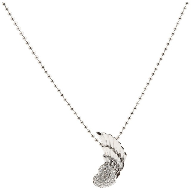 King Baby Studio Winged Heart Pendant Silver with CZ