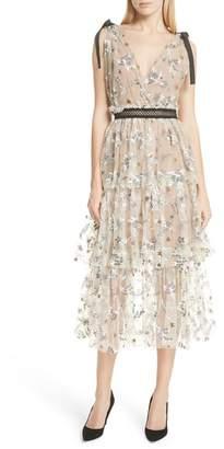 Self-Portrait Sequin Mesh Tie Strap Midi Dress