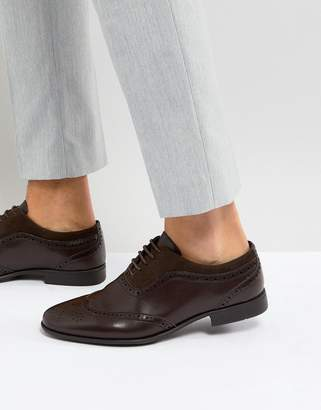 Asos Brogue Shoes In Brown Faux Leather With Faux Suede Panel
