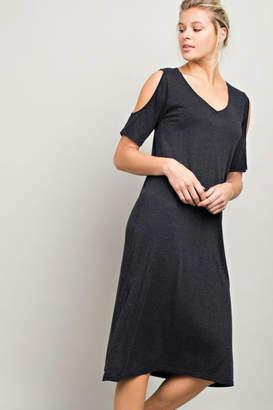Llove Usa Cold Shoulder Shirt-Dress