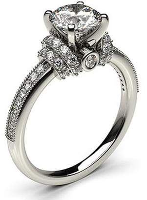 575 Denim Peacock Jewels 18K Wite Gold 4 Prong Setting Side Diamond Engagement Wedding Ring Size - 7.25