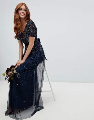 Maya v neck maxi tulle dress with contrast tonal delicate sequins in navy