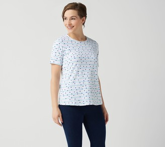 Denim & Co. Printed Jersey Round-Neck Short-Sleeve Top