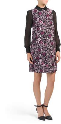 Jacquard A Line Dress With Chiffon Sleeve