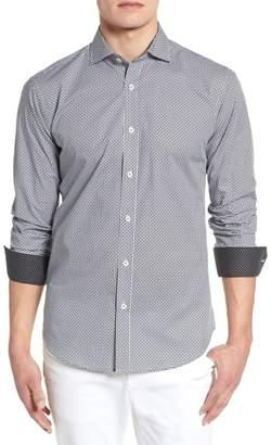 Bugatchi Shaped Fit Diamond Print Sport Shirt