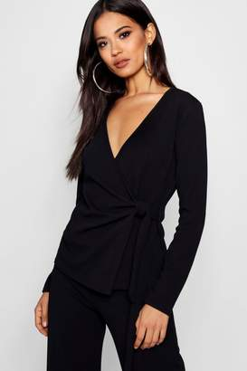 boohoo Wrap Over Tie Side Blazer