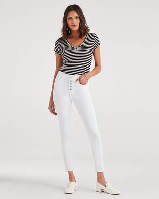 7 For All Mankind High Waist Ankle Skinny with Exposed Button Fly in White Runaway