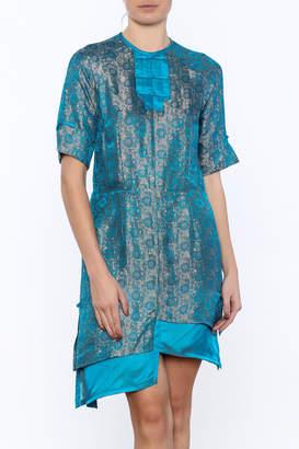 Dawn Sunflower Asymmetrical Silk Floral Summer Dress