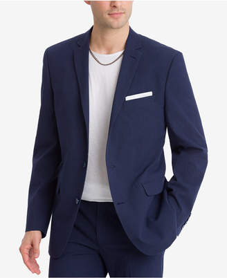 Bar III Closeout! Men's Slim-Fit Active Stretch Navy Stripe Seersucker Suit Jacket