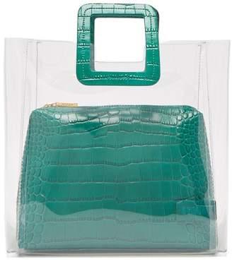 STAUD Shirley Leather & Pvc Tote Bag - Womens - Dark Green