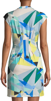 Catherine Malandrino Geometric-Print Pleated Mini Dress