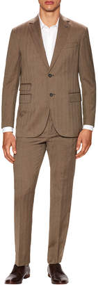Michael Bastian Gray Label Wool Herringbone Notch Lapel Suit