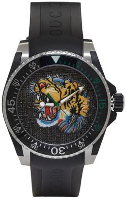 Gucci Black & Silver Dive Tiger Watch $1,120 thestylecure.com