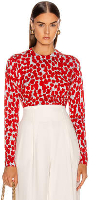 Proenza Schouler Long Sleeve Printed Spots Top in Light Blue & Red | FWRD