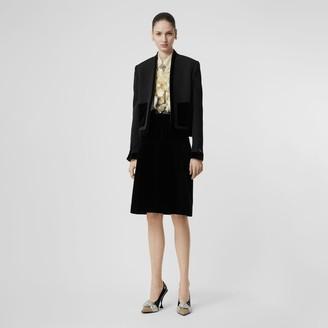 Burberry Lambskin Trim Box Pleat Detail Velvet and Wool Skirt
