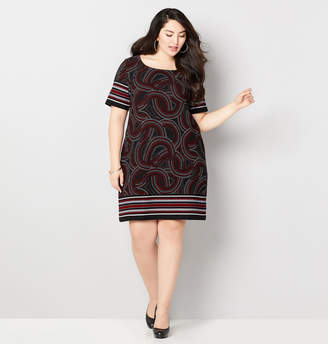 Avenue Dot Swirl Border Sheath Dress
