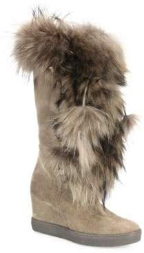 Aquatalia Colette Suede, Raccoon Fur& Shearling Wedge Boots