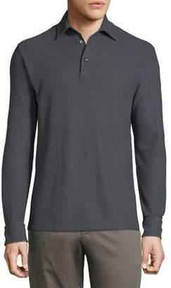 Loro Piana Men's Long-Sleeve Pique Polo Shirt
