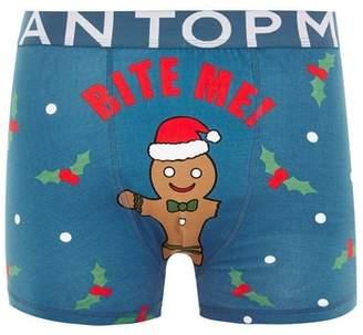 Topman Mens Blue Christmas 'Bite Me' Trunks*