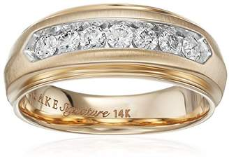 Keepsake Men's Signature 14k Yellow Gold Diagonal Row Wedding Band (1/2cttw