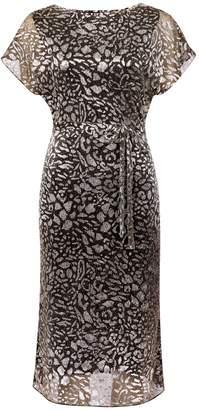 Dorothy Perkins Womens Khaki Shimmer Leopard Print Kimono Midi Dress