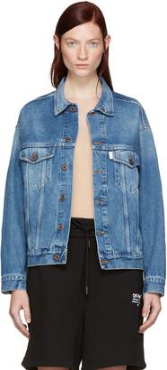 Off-White Blue Denim Sprayed Diagonals Jacket $740 thestylecure.com