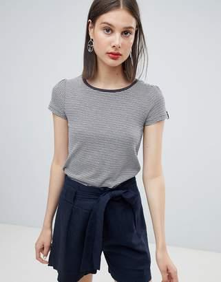 Esprit organic contrast neck stripe t-shirt