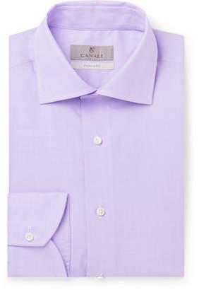 Canali Lilac Slim-fit Cotton-poplin Shirt - Lilac