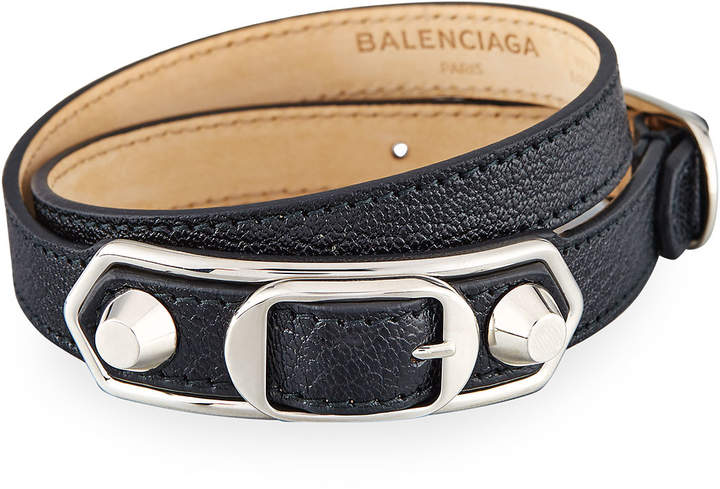 Balenciaga  Balenciaga Metallic Edge Leather Wrap Bracelet, Black