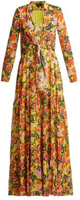 Saloni Alexia Floral Print Tie Front Silk Dress - Womens - Yellow Multi