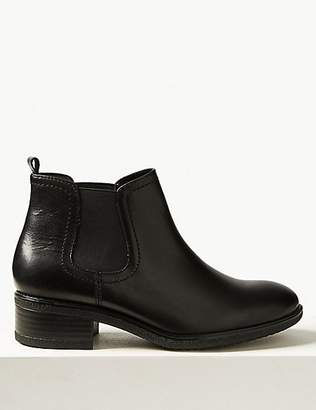 M&S Collection Wide Fit Leather Chelsea Ankle Boots