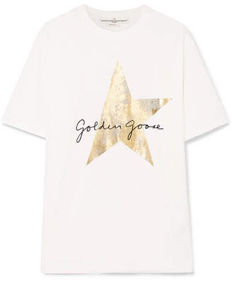 Golden Goose Oversized Printed Cotton-jersey T-shirt - White