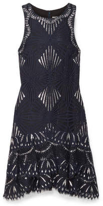 Jonathan Simkhai Metallic Lace Mini Dress - Navy