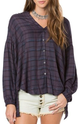 O'Neill Marilyn Plaid High/Low Blouse $54 thestylecure.com