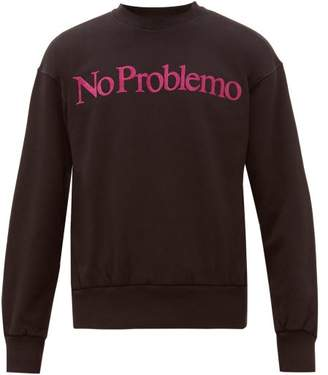 Aries No Problemo Flocked Cotton Sweatshirt - Mens - Black