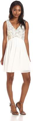 Minuet Women's Fit and Flare with Embellished Bodice Dress