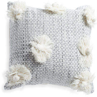 Made In India 18x18 Fringe Flower Pillow