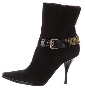 Casadei Suede Chain-link Ankle Boots Black Suede Chain-link Ankle Boots