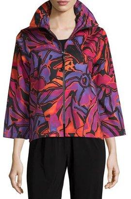 Caroline Rose Samba Printed Zip-Front Jacket, Multi/Black $265 thestylecure.com