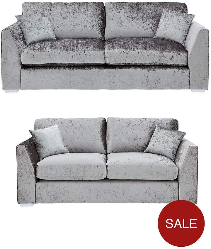 Ideal Home Shimmer 3-Seater + 2-Seater Fabric Sofa Set