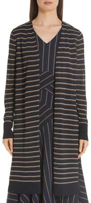 Lafayette 148 New York Long Stripe Cardigan