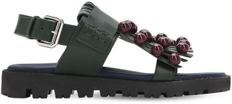 Marni Junior Leather Sandals W/ Appliques