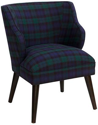 One Kings Lane Kira Chair - Navy Plaid