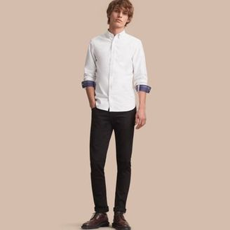 Burberry Button-down Collar Cotton Oxford Shirt with Check Detail $275 thestylecure.com