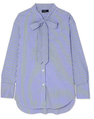 f5dcf2ce6a Theory Weekender Pussy-bow Striped Cotton-blend Shirt - Blue