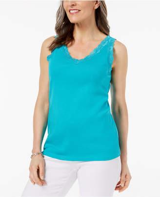 Karen Scott Lace-Trim Tank Top In Regular & Petite Sizes, Created for Macy's