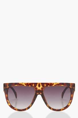 boohoo Flat Top Brow Tortoiseshell Sunglasses