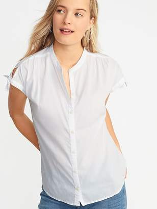 Old Navy Tie-Sleeve Button-Front Shirt for Women